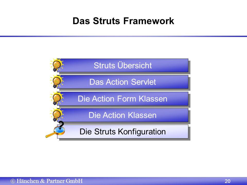 Hänchen & Partner GmbH 20 Das Struts Framework Struts Übersicht Das Action Servlet Die Struts Konfiguration Die Action Klassen Die Action Form Klassen ?