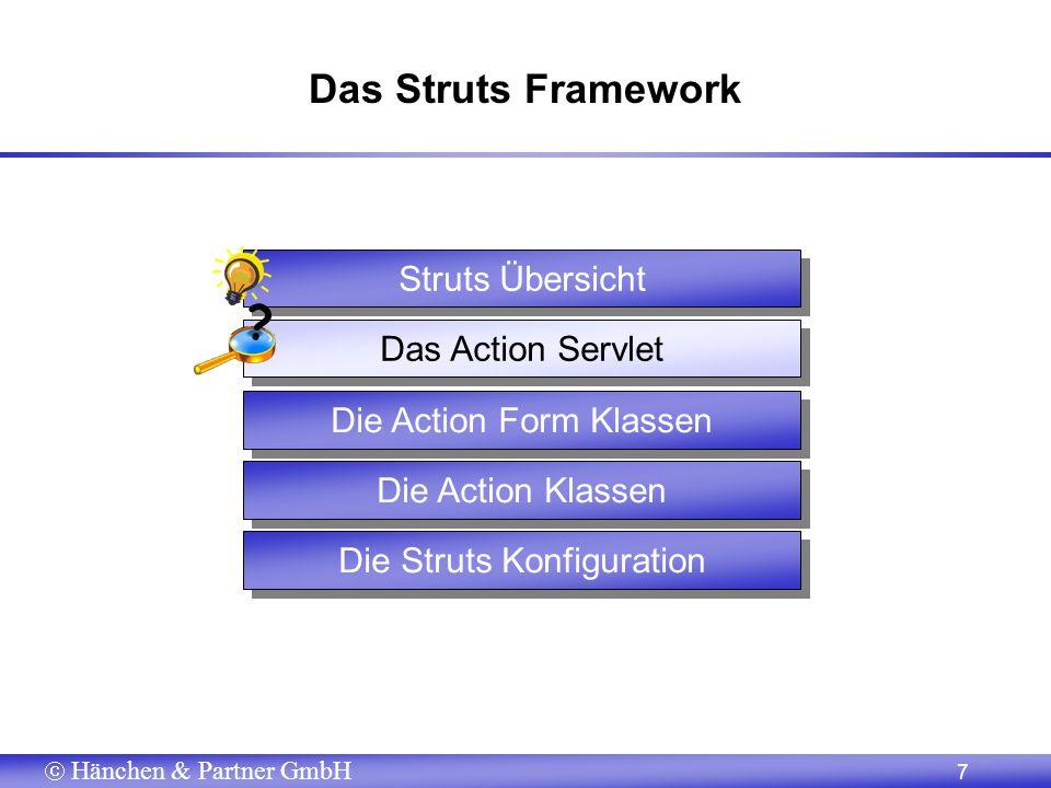 Hänchen & Partner GmbH 7 Das Struts Framework Die Action Form Klassen Die Action Klassen Die Struts Konfiguration Das Action Servlet Struts Übersicht ?