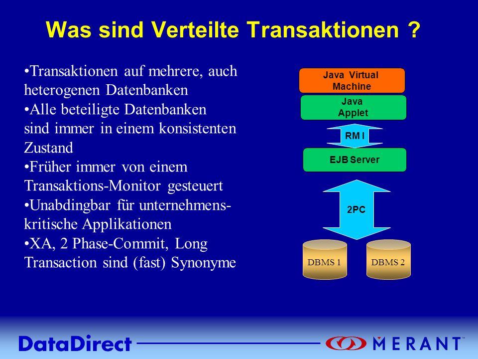 Copyright © 1999 MERANT INC. Was sind Verteilte Transaktionen ? Transaktionen auf mehrere, auch heterogenen Datenbanken Alle beteiligte Datenbanken si