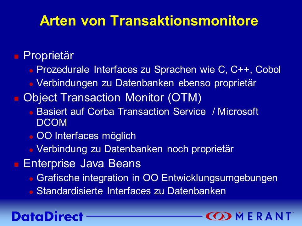 Copyright © 1999 MERANT INC. Arten von Transaktionsmonitore n Proprietär l Prozedurale Interfaces zu Sprachen wie C, C++, Cobol l Verbindungen zu Date