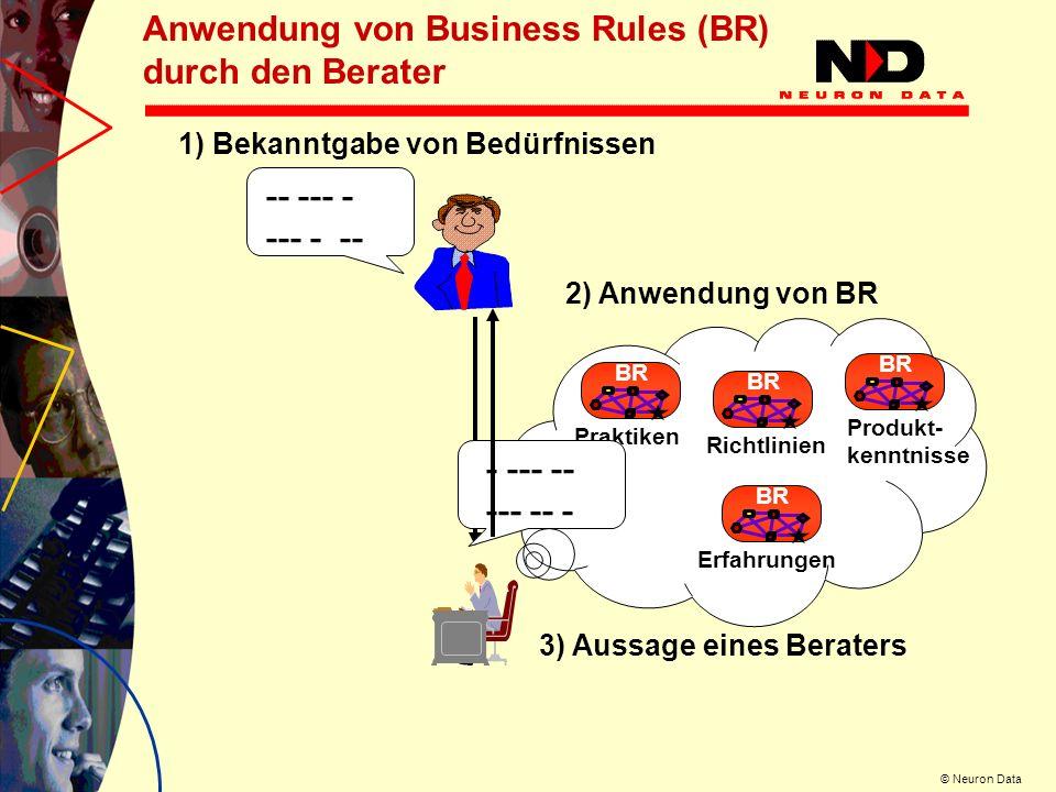 © Neuron Data Anwendung von Business Rules (BR) durch den Berater -- --- - 1) Bekanntgabe von Bedürfnissen BR Produkt- kenntnisse BR Praktiken BR Rich