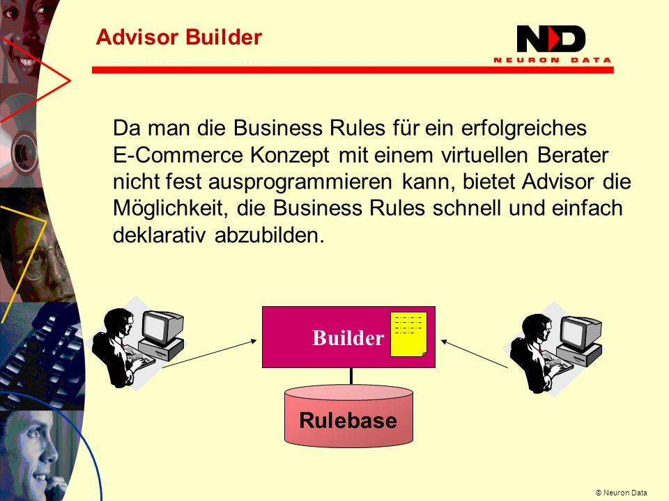 © Neuron Data Advisor Builder Builder Rulebase Da man die Business Rules für ein erfolgreiches E-Commerce Konzept mit einem virtuellen Berater nicht f