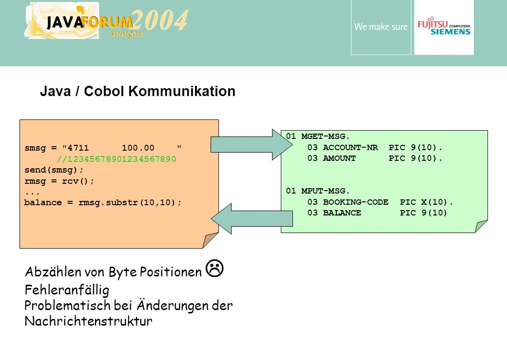 Anton Vorsamer smsg = 4711 100.00 //12345678901234567890 send(smsg); rmsg = rcv();...