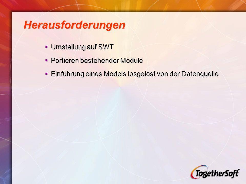 Herausforderungen Umstellung auf SWT Umstellung auf SWT Portieren bestehender Module Portieren bestehender Module Einführung eines Models losgelöst von der Datenquelle Einführung eines Models losgelöst von der Datenquelle