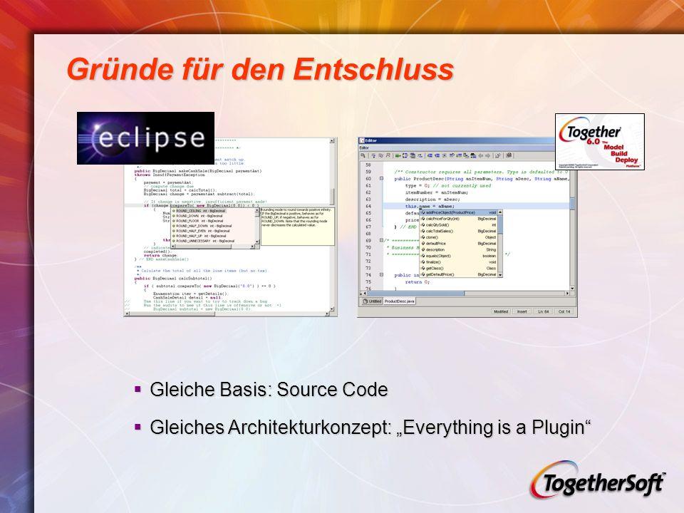 Gründe für den Entschluss Gleiche Basis: Source Code Gleiche Basis: Source Code Gleiches Architekturkonzept: Everything is a Plugin Gleiches Architekturkonzept: Everything is a Plugin