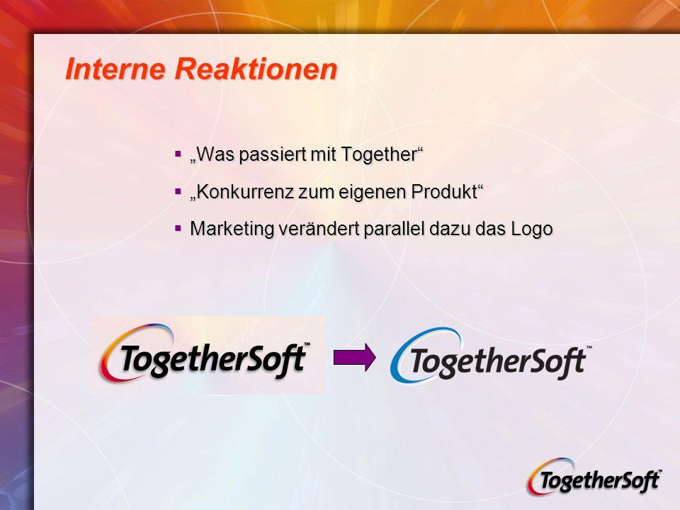 Interne Reaktionen Was passiert mit Together Was passiert mit Together Konkurrenz zum eigenen Produkt Konkurrenz zum eigenen Produkt Marketing verändert parallel dazu das Logo Marketing verändert parallel dazu das Logo