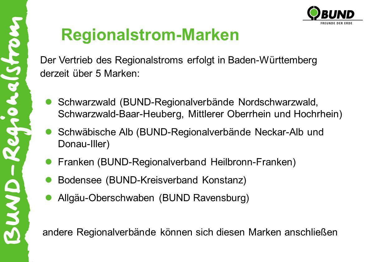 Regionalstrom-Marken Schwarzwald (BUND-Regionalverbände Nordschwarzwald, Schwarzwald-Baar-Heuberg, Mittlerer Oberrhein und Hochrhein) Schwäbische Alb (BUND-Regionalverbände Neckar-Alb und Donau-Iller) Franken (BUND-Regionalverband Heilbronn-Franken) Bodensee (BUND-Kreisverband Konstanz) Allgäu-Oberschwaben (BUND Ravensburg) Der Vertrieb des Regionalstroms erfolgt in Baden-Württemberg derzeit über 5 Marken: andere Regionalverbände können sich diesen Marken anschließen