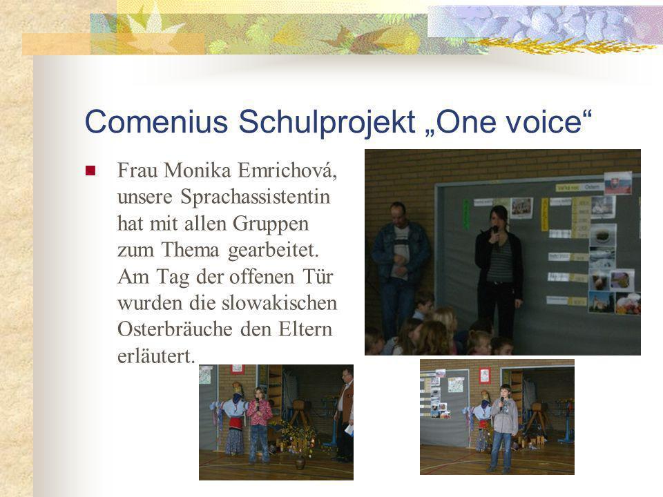 Comenius Schulprojekt One voice Frau Monika Emrichová, unsere Sprachassistentin hat mit allen Gruppen zum Thema gearbeitet.