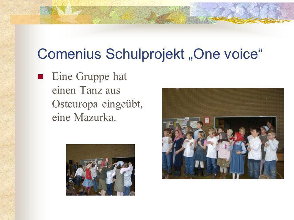 Comenius Schulprojekt One voice Eine Gruppe hat einen Tanz aus Osteuropa eingeübt, eine Mazurka.