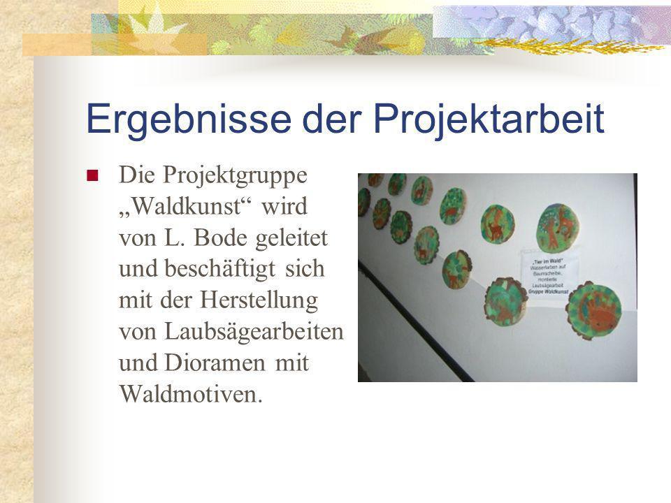 Die Projektgruppe Waldkunst wird von L.