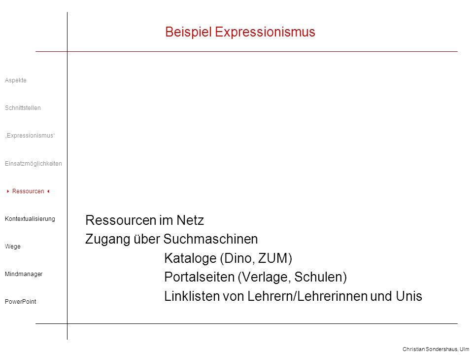 Christian Sondershaus, Ulm Beispiel Expressionismus Kontextualisierung Literatur in interlinearen Kontext stellen In neue Kontexte einbinden Kontexte wahrnehmbar machen Aspekte Schnittstellen Expressionismus Einsatzmöglichkeiten Ressourcen im Netz Kontext Wege Mindmanager PowerPoint