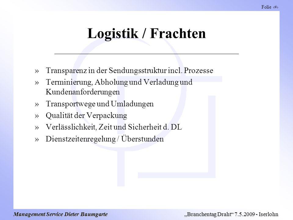 Folie 10 Management Service Dieter Baumgarte Branchentag Draht 7.5.2009 - Iserlohn Logistik / Frachten »Transparenz in der Sendungsstruktur incl. Proz