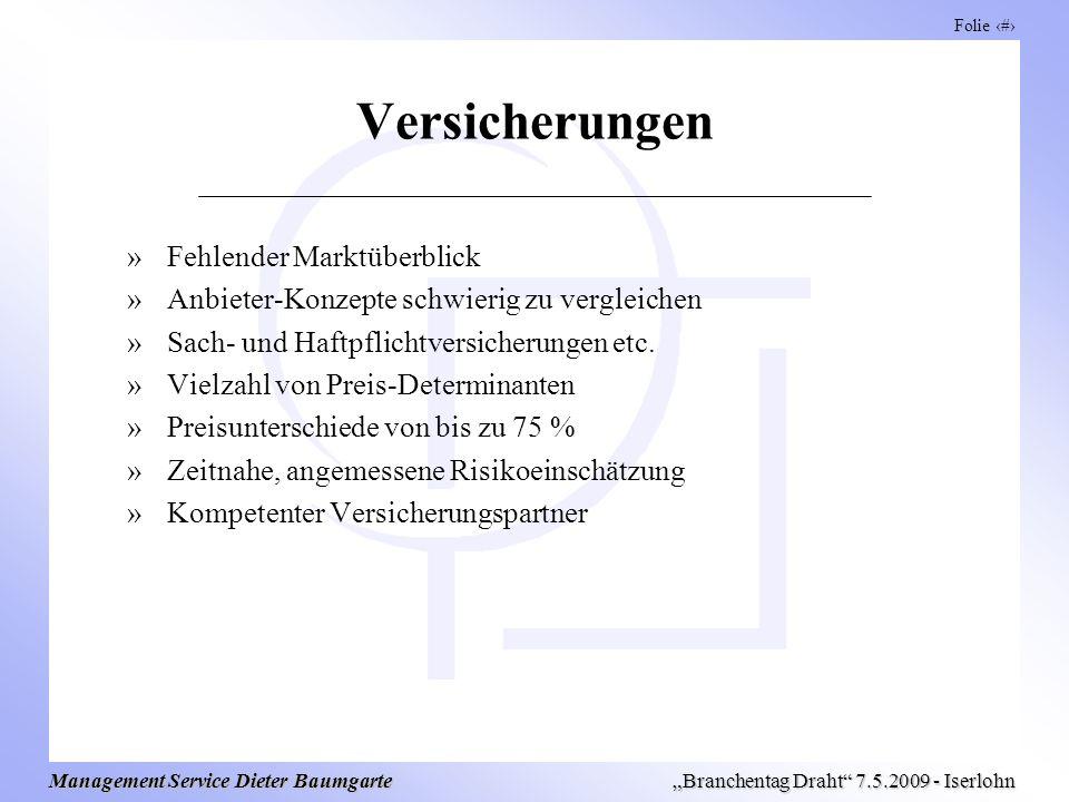 Folie 12 Management Service Dieter Baumgarte Branchentag Draht 7.5.2009 - Iserlohn Versicherungen »Fehlender Marktüberblick »Anbieter-Konzepte schwierig zu vergleichen »Sach- und Haftpflichtversicherungen etc.