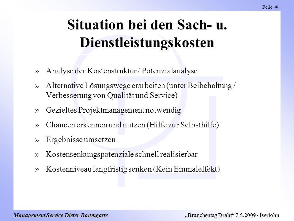 Folie 6 Management Service Dieter Baumgarte Branchentag Draht 7.5.2009 - Iserlohn Situation bei den Sach- u. Dienstleistungskosten »Analyse der Kosten