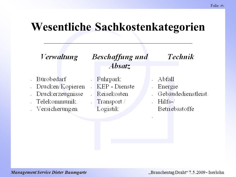 Folie 7 Management Service Dieter Baumgarte Branchentag Draht 7.5.2009 - Iserlohn Wesentliche Sachkostenkategorien