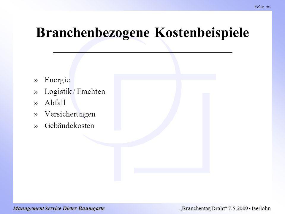 Folie 8 Management Service Dieter Baumgarte Branchentag Draht 7.5.2009 - Iserlohn Branchenbezogene Kostenbeispiele »Energie »Logistik / Frachten »Abfall »Versicherungen »Gebäudekosten