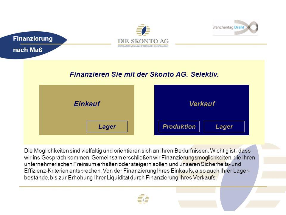13 Finanzierung Finanzieren Sie mit der Skonto AG. Selektiv. EinkaufVerkauf LagerProduktionLager Die Möglichkeiten sind vielfältig und orientieren sic