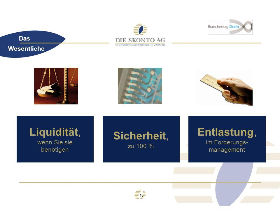 16 Das Wesentliche Liquidität, wenn Sie sie benötigen Sicherheit, zu 100 % Entlastung, im Forderungs- management