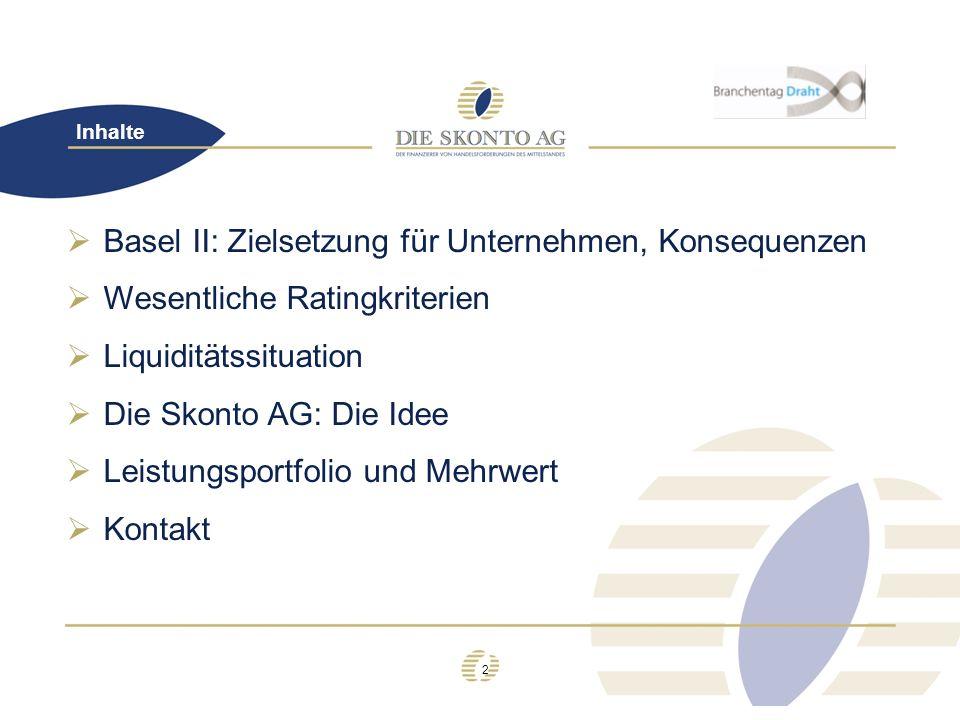 3 Basel II Konsequenzen für Ihr Unternehmen durch Basel II: aufgrund externer Richtlinien veränderte Kreditvergabeentscheidung (restriktive Kreditvergabe durch Banken) Keine Risikobereitschaft durch Kreditinstitute zunehmende Anforderungen an Unternehmenstransparenz Intensivierte Kommunikation Unternehmen – Bank i.d.R.