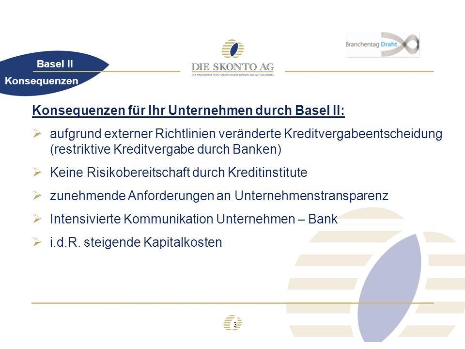 3 Basel II Konsequenzen für Ihr Unternehmen durch Basel II: aufgrund externer Richtlinien veränderte Kreditvergabeentscheidung (restriktive Kreditverg