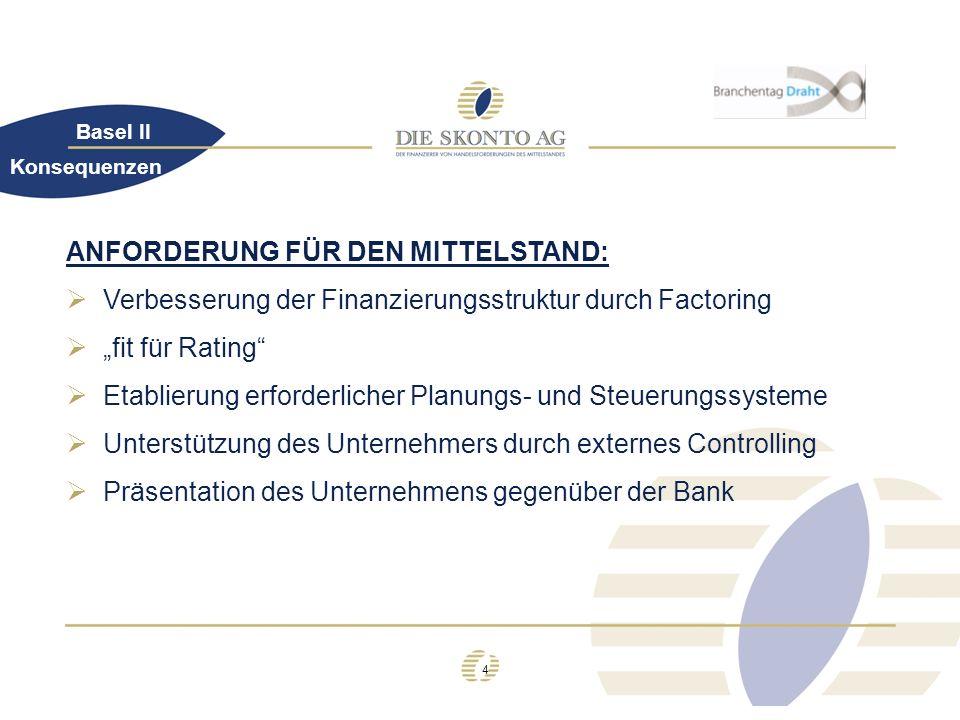 4 Basel II ANFORDERUNG FÜR DEN MITTELSTAND: Verbesserung der Finanzierungsstruktur durch Factoring fit für Rating Etablierung erforderlicher Planungs-