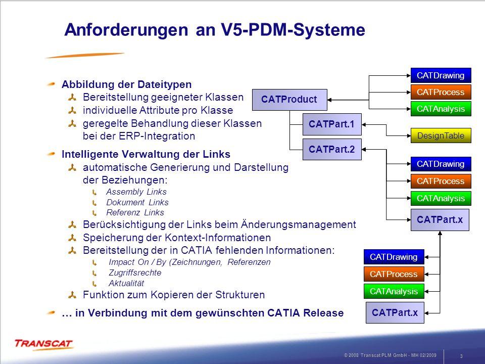 © 2008 Transcat PLM GmbH - MH 02/2009 3 Anforderungen an V5-PDM-Systeme Abbildung der Dateitypen Bereitstellung geeigneter Klassen individuelle Attrib