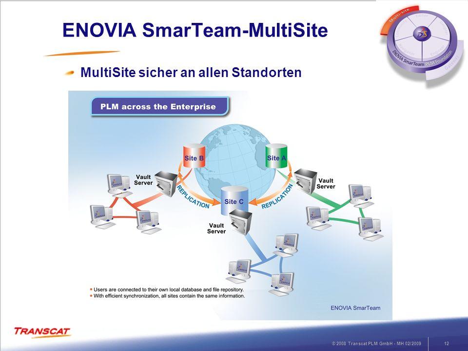 © 2008 Transcat PLM GmbH - MH 02/200912 ENOVIA SmarTeam-MultiSite MultiSite sicher an allen Standorten