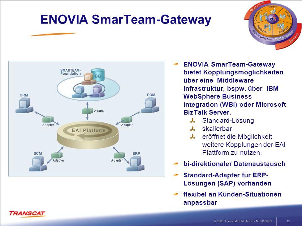 © 2008 Transcat PLM GmbH - MH 02/200913 ENOVIA SmarTeam-Gateway ENOVIA SmarTeam-Gateway bietet Kopplungsmöglichkeiten über eine Middleware Infrastrukt