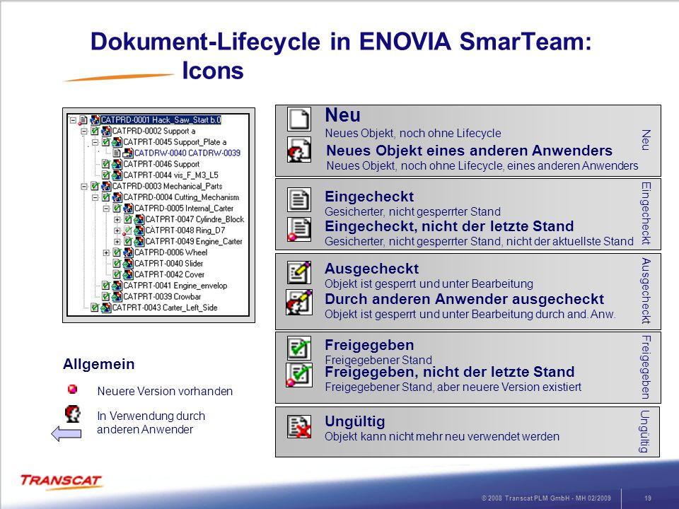 © 2008 Transcat PLM GmbH - MH 02/200919 Dokument-Lifecycle in ENOVIA SmarTeam: Icons Neu Neu Neues Objekt, noch ohne Lifecycle Neues Objekt eines ande