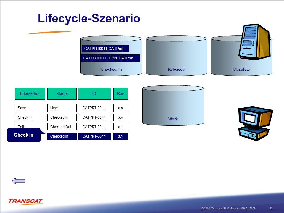 © 2008 Transcat PLM GmbH - MH 02/200925 Lifecycle-Szenario RevStatusInteraktion a.oNewSave ID CATPRT-0011 a.oChecked InCheck InCATPRT-0011 a.1Checked