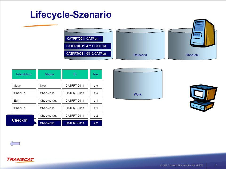 © 2008 Transcat PLM GmbH - MH 02/200927 Lifecycle-Szenario RevStatusInteraktion a.oNewSave ID CATPRT-0011 a.oChecked InCheck InCATPRT-0011 a.1Checked