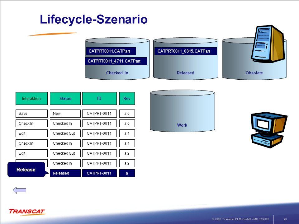 © 2008 Transcat PLM GmbH - MH 02/200928 Lifecycle-Szenario RevStatusInteraktion a.oNewSave ID CATPRT-0011 a.oChecked InCheck InCATPRT-0011 a.1Checked