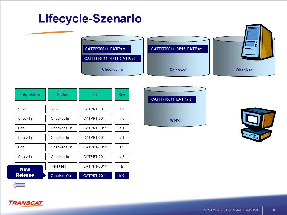 © 2008 Transcat PLM GmbH - MH 02/200929 Lifecycle-Szenario RevStatusInteraktion a.oNewSave ID CATPRT-0011 a.oChecked InCheck InCATPRT-0011 a.1Checked
