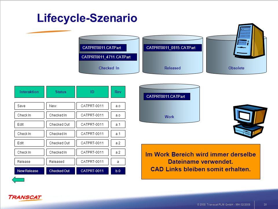 © 2008 Transcat PLM GmbH - MH 02/200930 Lifecycle-Szenario RevStatusInteraktion a.oNewSave ID CATPRT-0011 a.oChecked InCheck InCATPRT-0011 a.1Checked