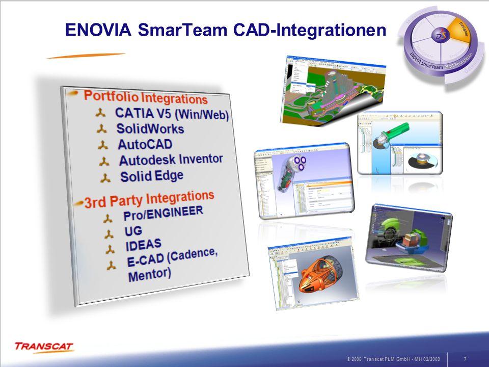 © 2008 Transcat PLM GmbH - MH 02/20097 ENOVIA SmarTeam CAD-Integrationen