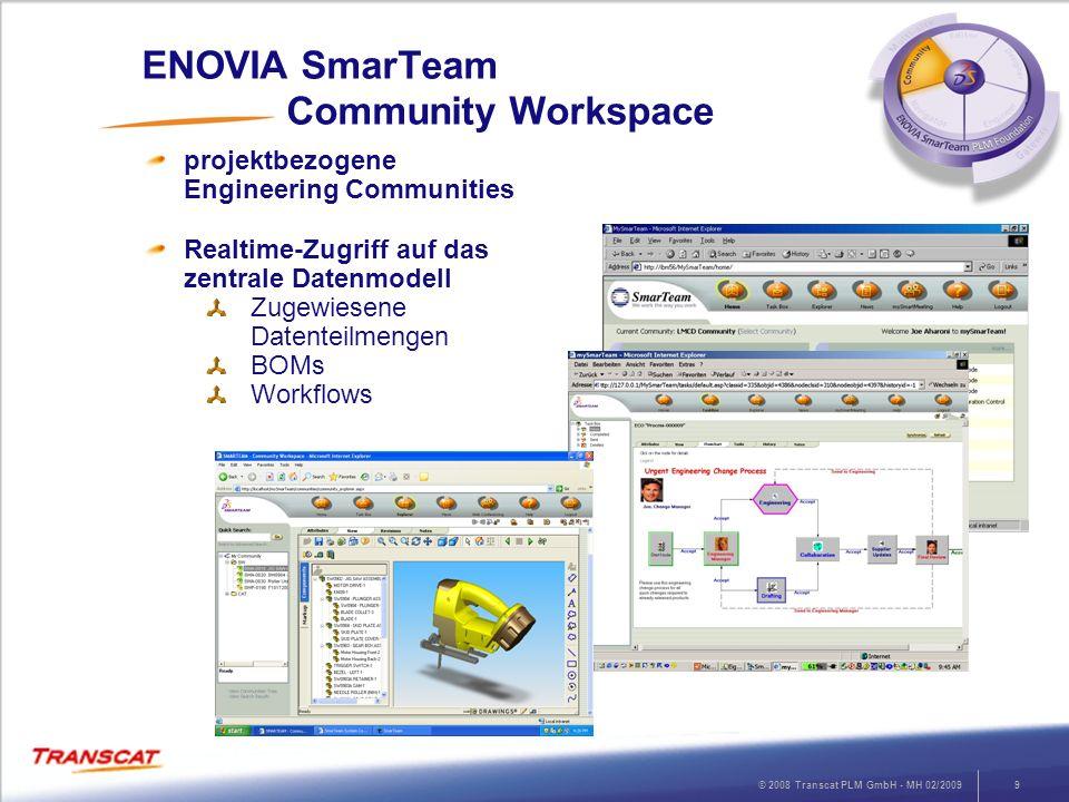© 2008 Transcat PLM GmbH - MH 02/20099 ENOVIA SmarTeam Community Workspace projektbezogene Engineering Communities Realtime-Zugriff auf das zentrale D