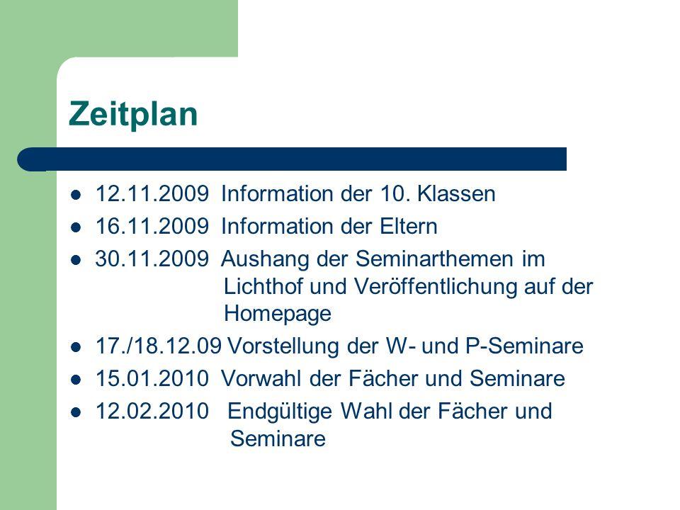 Zeitplan 12.11.2009 Information der 10. Klassen 16.11.2009 Information der Eltern 30.11.2009 Aushang der Seminarthemen im Lichthof und Veröffentlichun