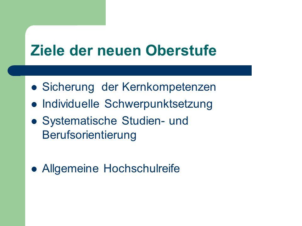 Ziele der neuen Oberstufe Sicherung der Kernkompetenzen Individuelle Schwerpunktsetzung Systematische Studien- und Berufsorientierung Allgemeine Hochs