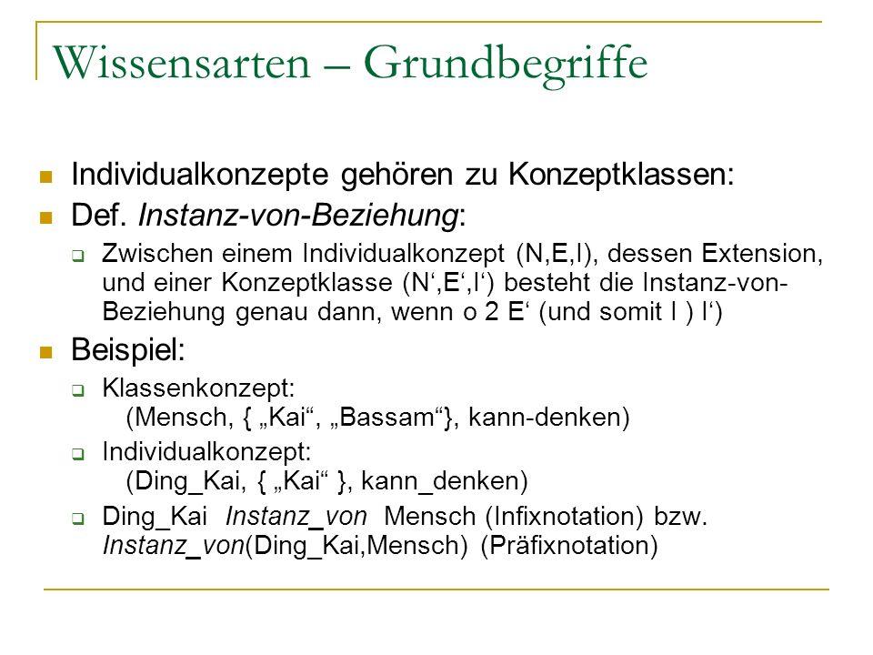 Wissensarten – Grundbegriffe Individualkonzepte gehören zu Konzeptklassen: Def. Instanz-von-Beziehung: Zwischen einem Individualkonzept (N,E,I), desse