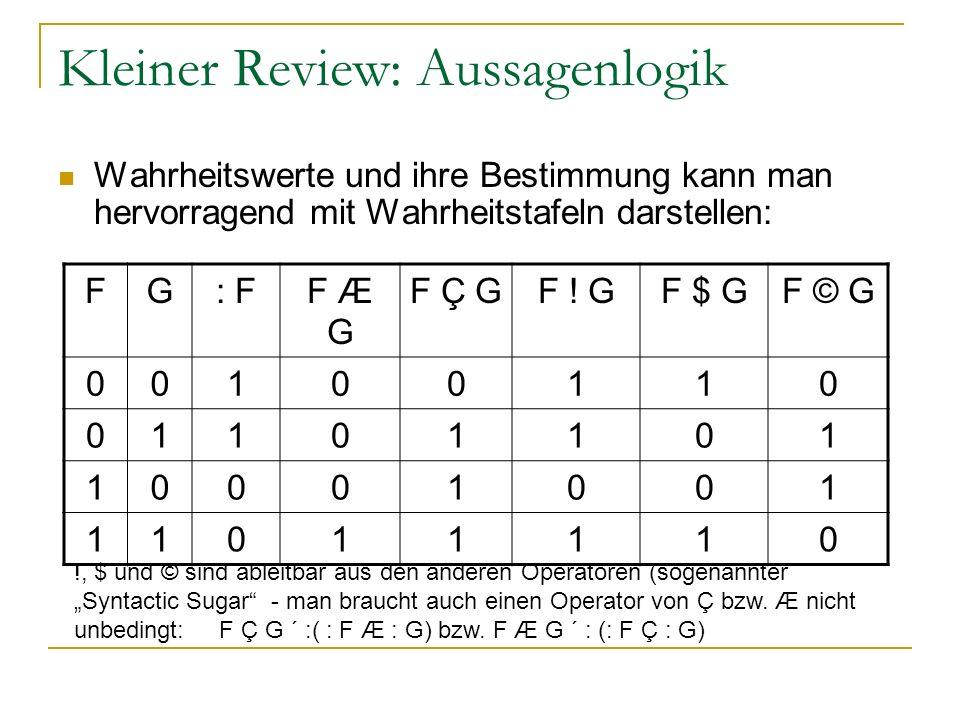 Kleiner Review: Aussagenlogik Wahrheitswerte und ihre Bestimmung kann man hervorragend mit Wahrheitstafeln darstellen: FG: F: FF Æ G F Ç GF ! GF $ GF