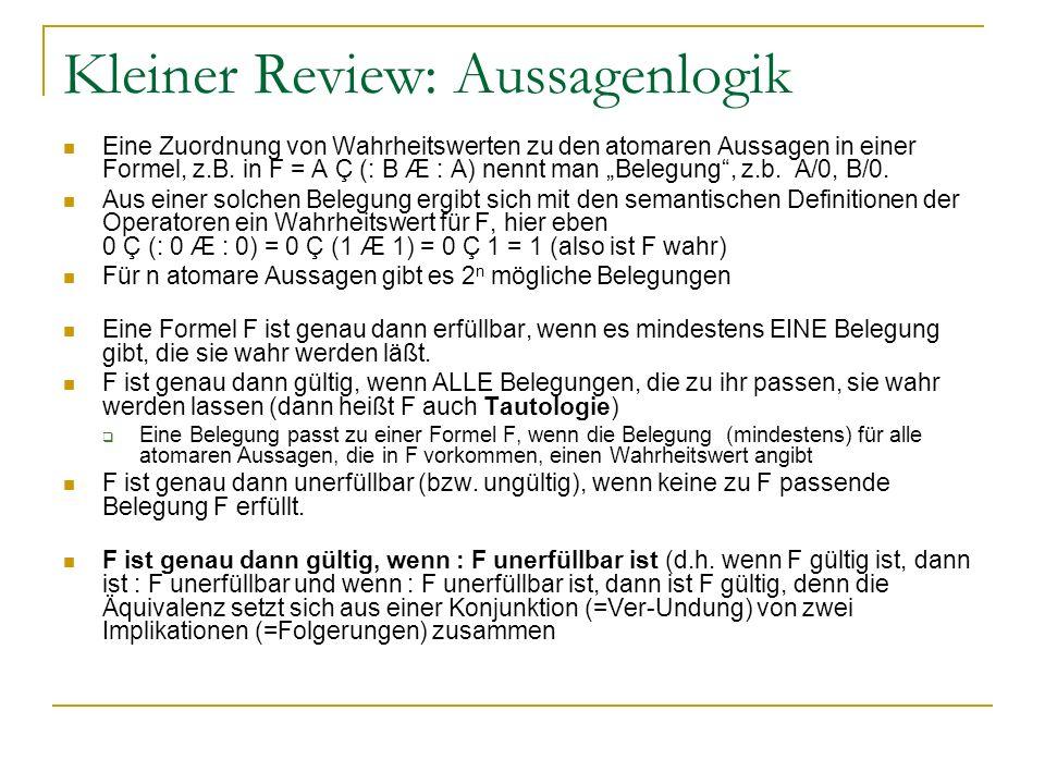 Kleiner Review: Aussagenlogik Eine Zuordnung von Wahrheitswerten zu den atomaren Aussagen in einer Formel, z.B. in F = A Ç (: B Æ : A) nennt man Beleg