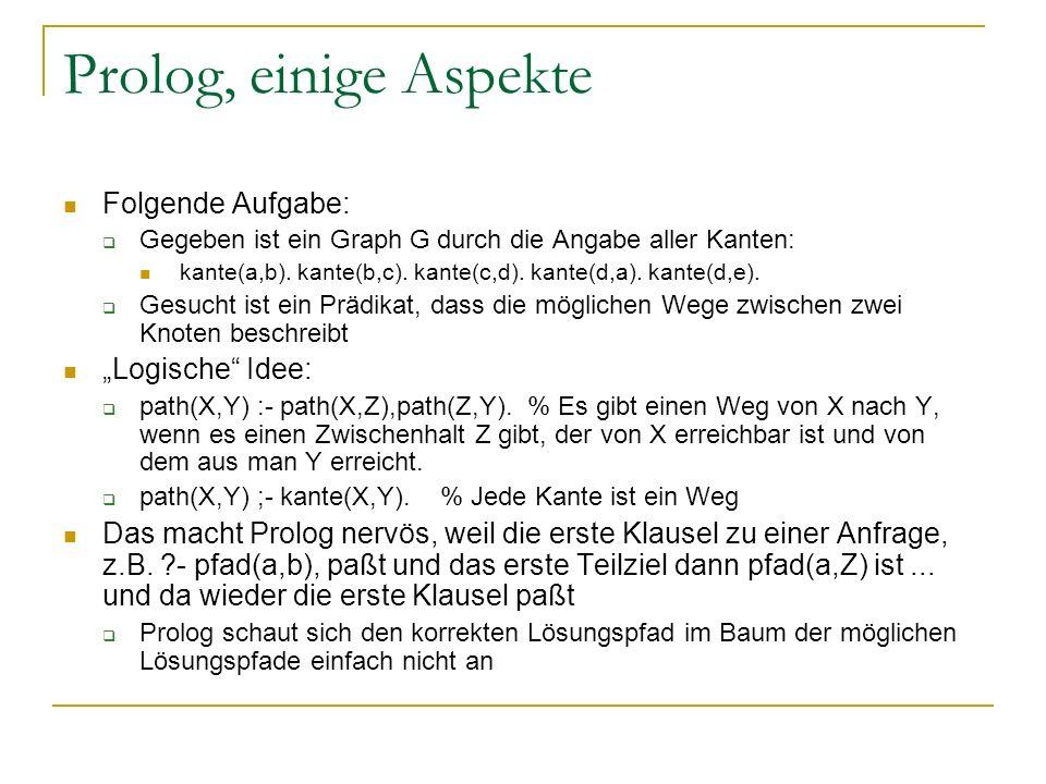 Prolog, einige Aspekte Folgende Aufgabe: Gegeben ist ein Graph G durch die Angabe aller Kanten: kante(a,b). kante(b,c). kante(c,d). kante(d,a). kante(
