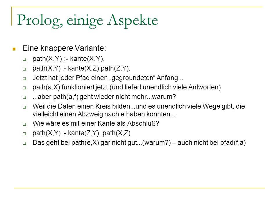 Prolog, einige Aspekte Eine knappere Variante: path(X,Y) ;- kante(X,Y). path(X,Y) ;- kante(X,Z),path(Z,Y). Jetzt hat jeder Pfad einen gegroundeten Anf