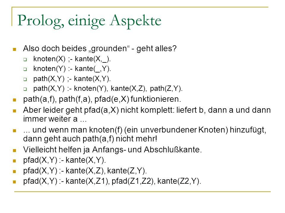 Prolog, einige Aspekte Also doch beides grounden - geht alles? knoten(X) ;- kante(X,_). knoten(Y) :- kante(_,Y). path(X,Y) ;- kante(X,Y). path(X,Y) :-