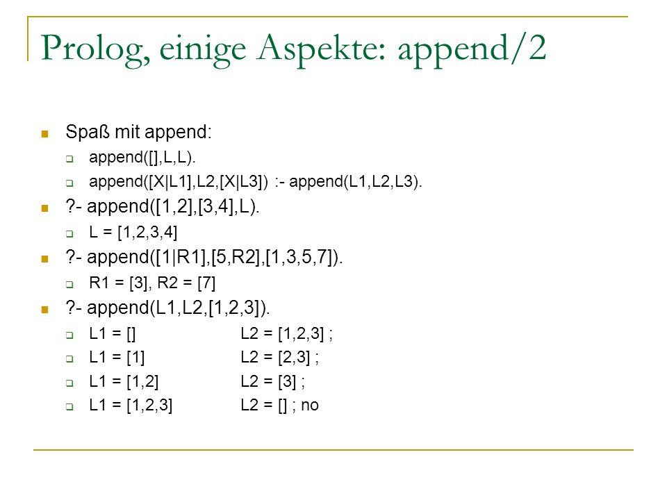 Prolog, einige Aspekte: append/2 Spaß mit append: append([],L,L). append([X|L1],L2,[X|L3]) :- append(L1,L2,L3). ?- append([1,2],[3,4],L). L = [1,2,3,4