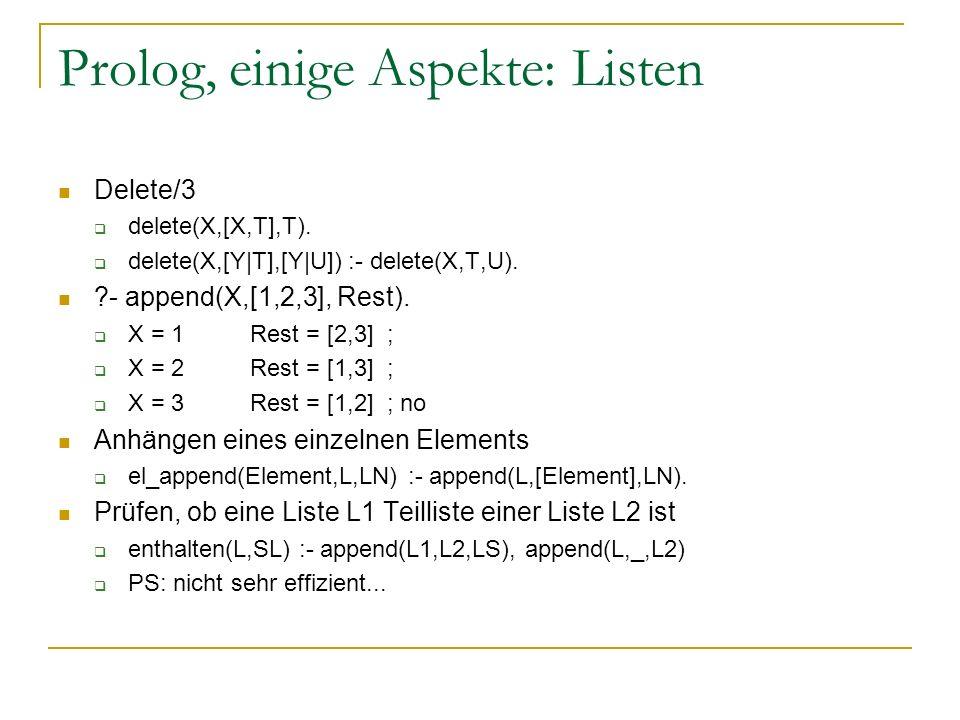 Prolog, einige Aspekte: Listen Delete/3 delete(X,[X,T],T). delete(X,[Y|T],[Y|U]) :- delete(X,T,U). ?- append(X,[1,2,3], Rest). X = 1Rest = [2,3] ; X =