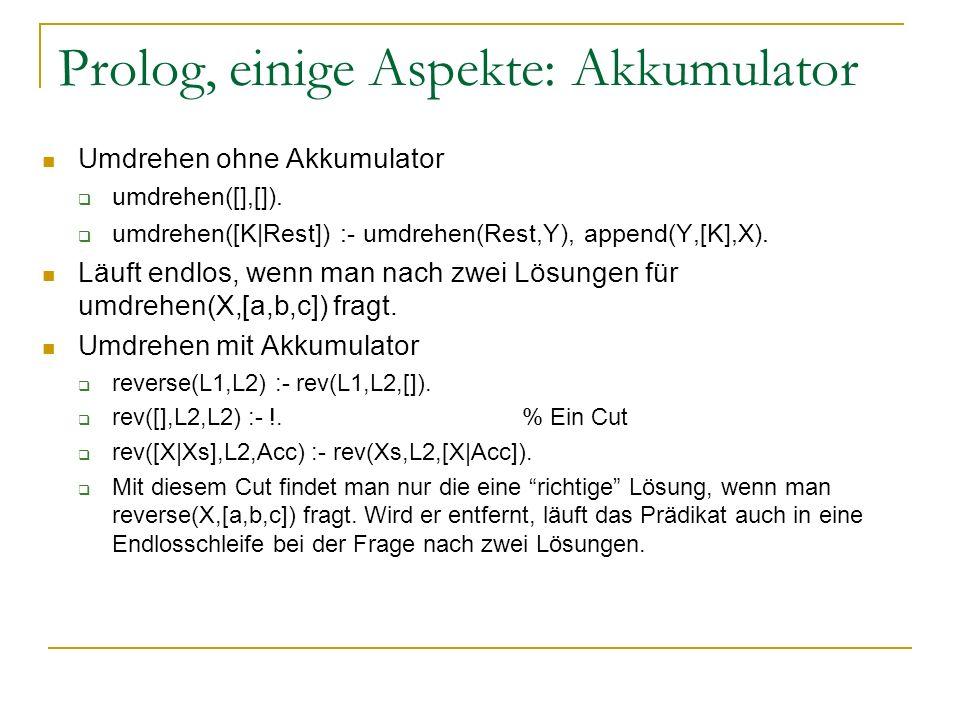Prolog, einige Aspekte: Akkumulator Umdrehen ohne Akkumulator umdrehen([],[]). umdrehen([K|Rest]) :- umdrehen(Rest,Y), append(Y,[K],X). Läuft endlos,