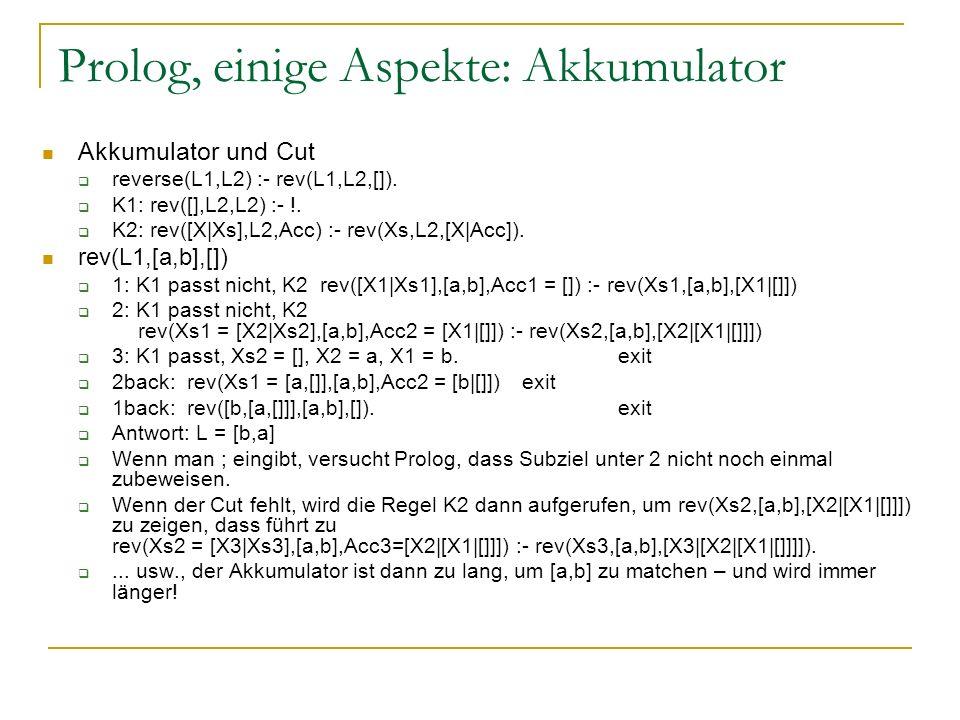 Prolog, einige Aspekte: Akkumulator Akkumulator und Cut reverse(L1,L2) :- rev(L1,L2,[]). K1: rev([],L2,L2) :- !. K2: rev([X|Xs],L2,Acc) :- rev(Xs,L2,[