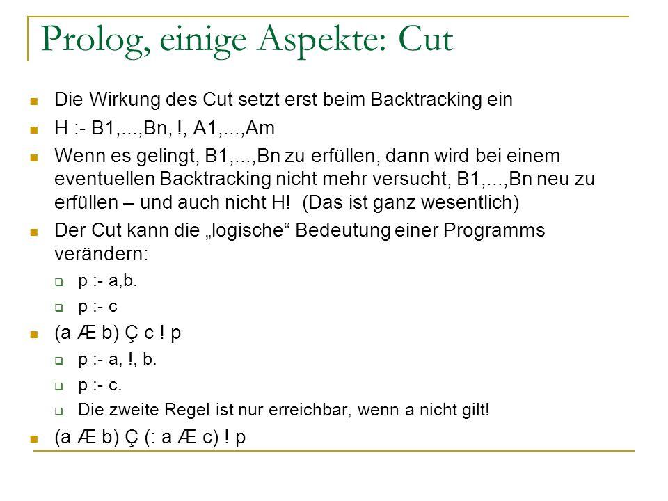 Prolog, einige Aspekte: Cut Die Wirkung des Cut setzt erst beim Backtracking ein H :- B1,...,Bn, !, A1,...,Am Wenn es gelingt, B1,...,Bn zu erfüllen,