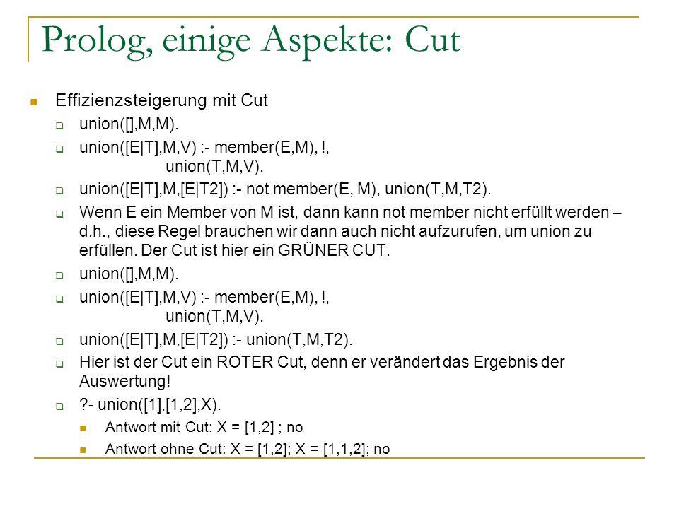 Prolog, einige Aspekte: Cut Effizienzsteigerung mit Cut union([],M,M). union([E|T],M,V) :- member(E,M), !, union(T,M,V). union([E|T],M,[E|T2]) :- not
